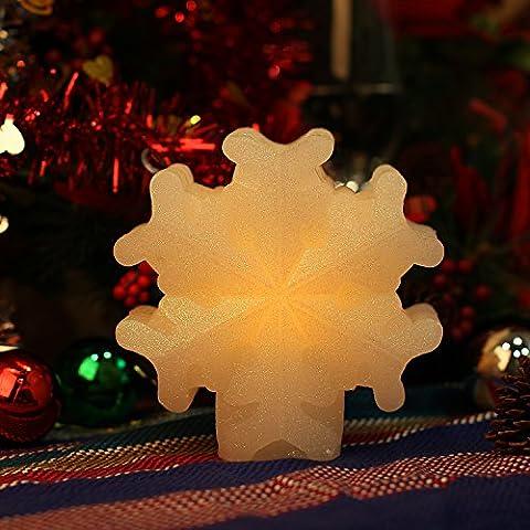Las velas de Navidad conjunto Navidad de decoraciones de la lámpara, 4 y 8 horas temporizado (Snowflake)