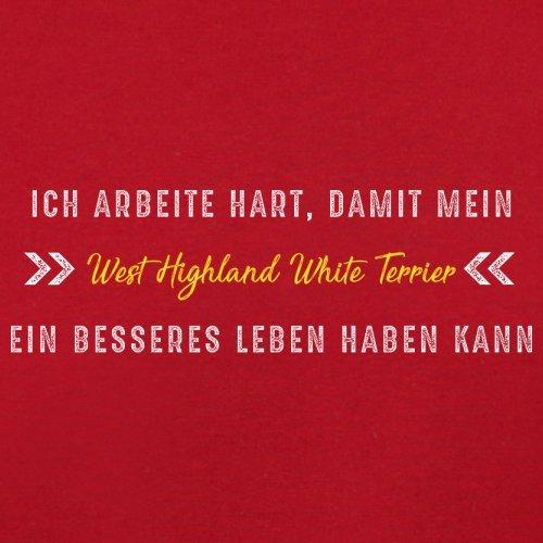 Ich arbeite hart, damit mein West Highland White Terrier ein besseres Leben haben kann - Herren T-Shirt - 12 Farben Rot