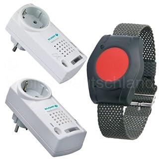 Pflegeruf-Set / Hausnotruf / Senioren-Hausalarm / Senioren-Sicherheitspaket 9 -für höhere Reichweiten (mit Funk-Armbandsender und Steckdosen-Empfänger mit Quittierungsfunktion)