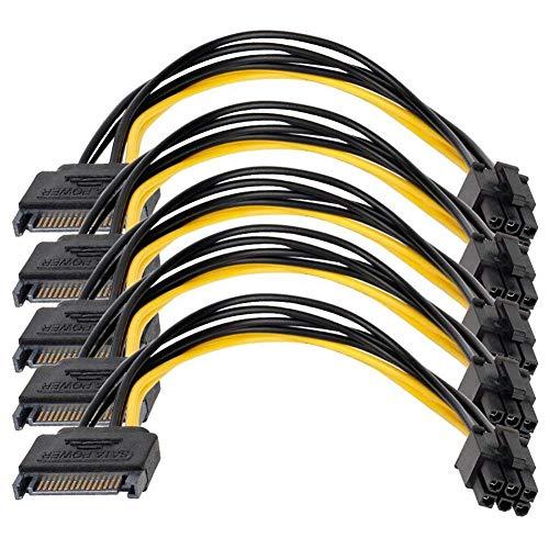 XZANTE Sata Netzteilkabel 5Er Pack Sata 15 Pin Auf 6 Pin Pci Express Karte Netzkabel 0,66 Fü?e / 0,20 M