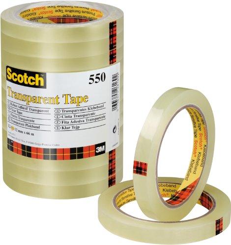 Scotch Nastro Adesivo, Trasparente, 12 mm x 66 m