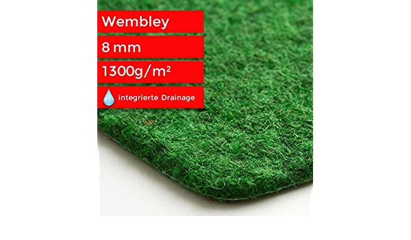 Steffensmeier Kunstrasen Teppich Wembley Gr/ö/ße: 133x550 cm f/ür Balkon und Terrasse gr/üner Nadelfilz