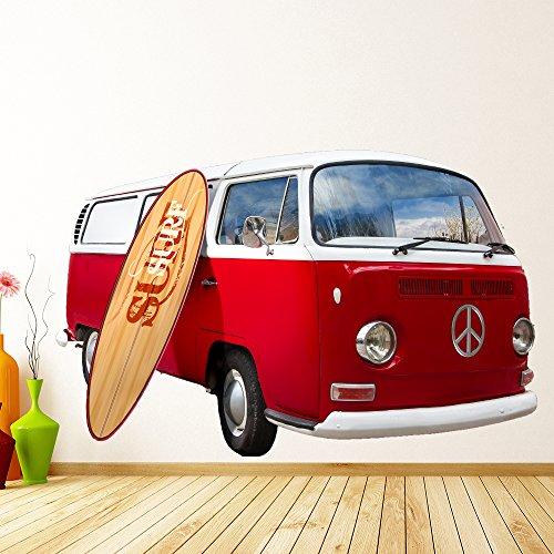 VW Camper Van Rojo vinilos decorativo Transporte adhesivos pegatina pared Deportes Surf Decoración del hogar Disponible en 8 Tamaños XX-Grande Digital