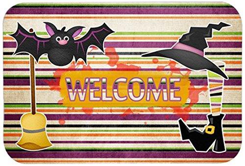 Küchen Kostüm Hexe - Kostüm Hexe und Besen auf Streifen Halloween Küche oder Badteppich 20x 30