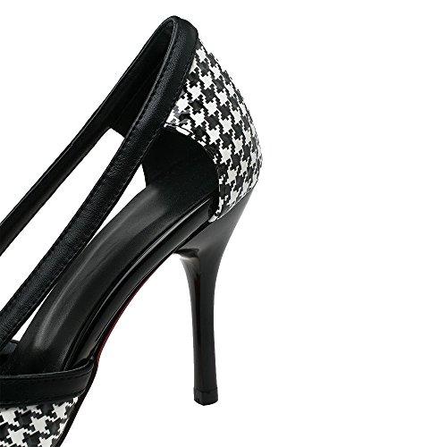 VogueZone009 Damen Spitz Zehe Stiletto Gemischte Farbe Ziehen Auf Pumps Schuhe Schwarz