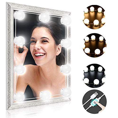 Schminktisch Beleuchtung, Winzwon Hollywood-Stil LED Spiegelleuchte, Schminktisch Spiegel Lichter für Kosmetikspiegel licht, Spiegel Nicht Inbegriffen, 10 LED-Lampen mit Dimmfunktion, 7000 Kelvin