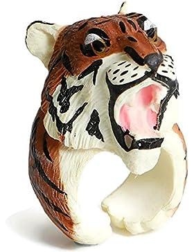 SiAura Material ® - 3D Tiger Ring, Innendurchmesser 16,1 mm, Farbe Kaffeebraun beige, Material Harz, für Mädchen...