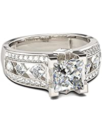 Naitik Jewels 925 Sterling Silver Princess Cut Diamond Antique Designer Engagement Ring For Women