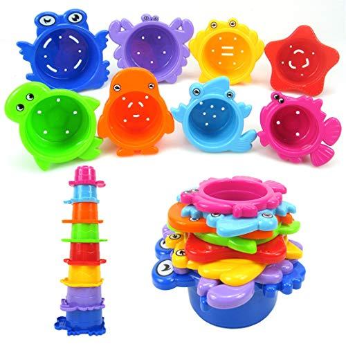 Pottoa 8ST Cartoons Spielzeug Kleinkinder Pool Spielzeug Baby Badewanne Spielzeug Kreaturen Tiere Wasser Spielzeug Baby Bad Pool Bad Spielzeug Zubehör für Reisen, Strand, Schwimmen