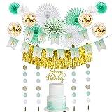 Easy Joy Anniversaire Menthe Decoration Ballon Confettis Or Rosace Papier Happy Birthday Decoration Kit Vert + Cake Topper pour Fille Femme