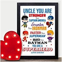 PERSONALISED Superhero Keepsake Christmas Gifts Uncle Brother Xmas Presents Him - PERSONALISED with ANY NAME and ANY RECIPIENT - Black or White Framed A5, A4, A3 Prints or 18mm Wooden Blocks