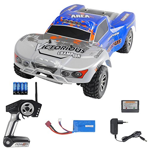 FPS RTR Bundle: Rayline Funrace FR01S D, A969-B, RC 2.4G Speed Elektro PRO Truggy Buggy, ferngesteuert, Pistolenfernbedienung, bis 70 kmh, 540er Motor, Metall Upgrade, 1:18 + 1x LiPo 1400 mAh Akku+ 4x AA Batterien