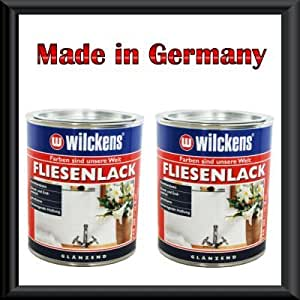 2 x 750 ml wilckens fliesenlack weiss gl nzend. Black Bedroom Furniture Sets. Home Design Ideas