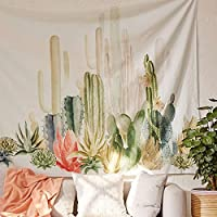 Jeteven Tropical Desert Sunshine Cactus Tapestry Wall Hanging Mandala Indian Tapestries Hippie Print Tapestry Picnic Beach Sheet Table Cloth 150 x 150cm