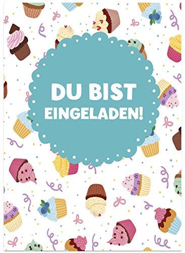 16 Einladungskarten zum Kindergeburtstag - Cupcakes und Muffins - für Kinder, Jungen, Mädchen, Feier Geburtstagseinladungen im Set