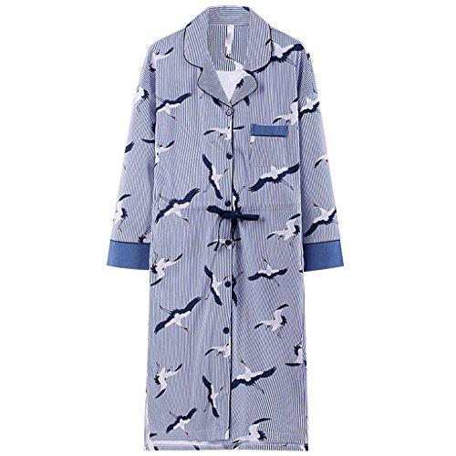 ZLR Cardigan a maniche lunghe in cotone a maniche lunghe da donna autunno-inverno Camicia da notte carina da indossare in casa ( dimensioni : Xl )