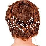 Hunpta Vintage Hochzeit Braut Perle Blume Kristall Haar Pins Brautjungfer Clips Side Comb (Weiß)