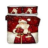 Weihnachten Bettwäsche Set 3 Stück King Size 220x240 3D Weihnachten Weihnachtsmann Weihnachtsbaum Rentier Elch Bettbezug Schneeflocke Muster Bettbezug und Kissenbezug Junge Mädchen