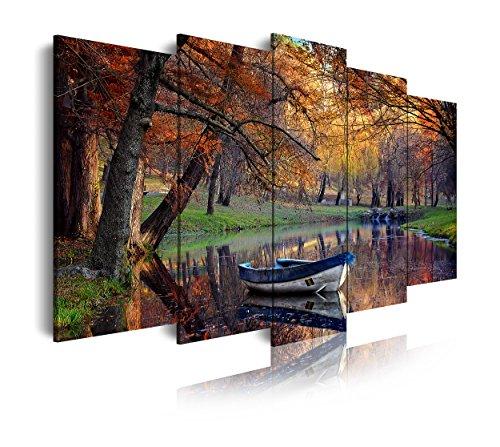DekoArte 120 - Cuadro moderno en lienzo 5 piezas paisaje otoño con lago y barca, 150x3x80cm