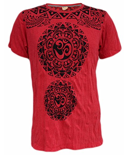 Yoga Shirts – Omtimistic Hombre Casual Om Graphic T-Shirt Rojo Large
