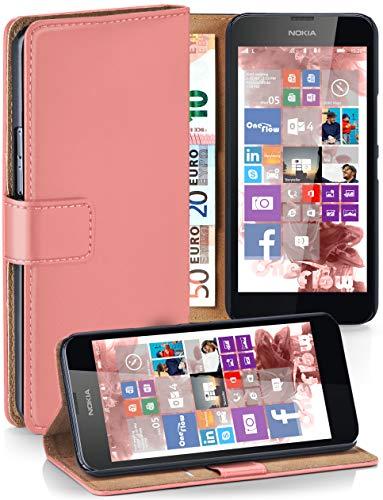 moex Nokia Lumia 630   Hülle Korall mit Karten-Fach 360° Book Klapp-Hülle Handytasche Kunst-Leder Handyhülle für Nokia Lumia 630/635 Dual SIM Case Flip Cover Schutzhülle Tasche (Sim-karte Für Nokia Lumia 635)