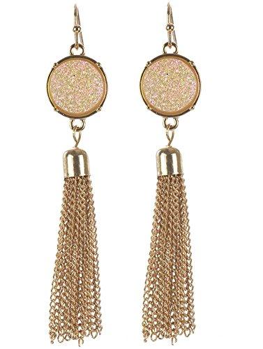 beyoutifulthings 1paio di orecchini da donna in acciaio inossidabile placcato oro rotondo brillantini bianco con ciondolo nappe in metallo Lunghezza: 7.6cm