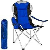 TecTake Anglersessel Campingstuhl blau/schwarz gepolstert und wasserabweisend mit Getränkehalter inkl. Tragetasche Regiestuhl  Gestell: ca. 18 mm