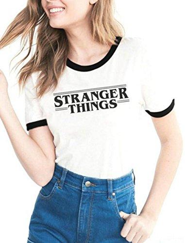 Fantigo donna manica corta girocollo t-shirt lovers casual magliette con tema stampa a proposito di stranger things black s