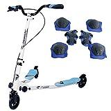Sungle Monopattino a 3 ruote per bambini Scooter pieghevole e con altezza regolabile diversi colori disponibili. (blu)