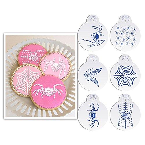 oween Spinnen Fledermäuse Cookie Schablone Kuchen schablonendrucke Fondant Kuchen, Dekorieren Supplies Cookie Kuchen Dekoration Form st-917beige/halbtransparent ()