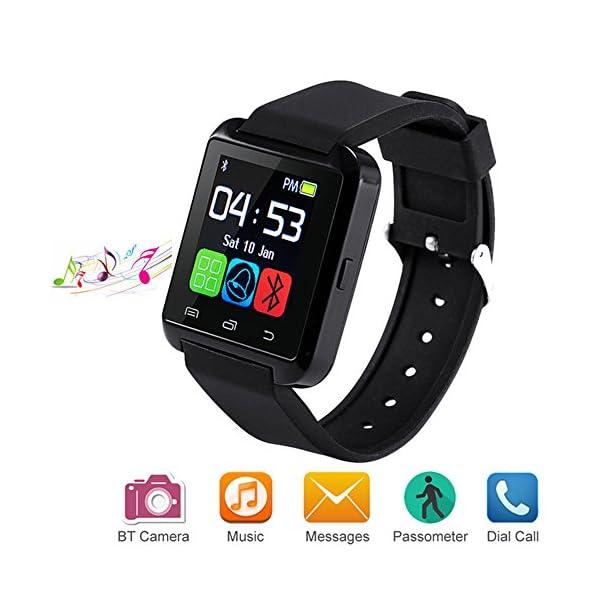 Letopro Smartwatch Bluetooth Reloj Inteligente Android iOS, Smart Watch Teléfono Inteligente De Pulsera con Pódometro/Contador de Calorias, Fitness Tracker para ios android phone(Negro) 1