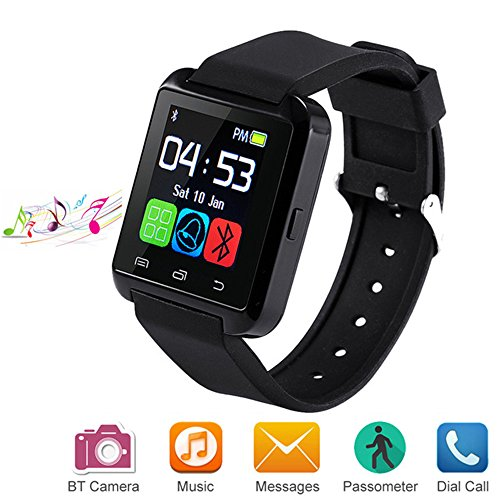 Letopro Bluetooth Smart Watch Compatiable for Android IOS Smartphone, Smartwatch with Pedometer Remote Camera Music Player Calls Reminder for Men Women Kids Children,U8 Smart Watch Phone(Black)