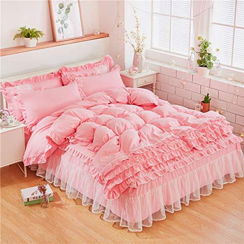 CZDXMVier Jahreszeiten Neue Romantische Prinzessin Spitze Bett Rock Bettwäsche Bettbezug Kissenbezug Blatt Set 1,5 M Bett Vier Sätze -