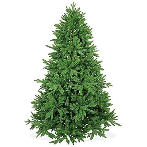 Künstlicher Weihnachtsbaum 210cm DeLuxe in Premium Spritzguss Qualität, grüne Nordmanntanne, Tannenbaum mit PE Kunststoff Nadeln, Nordmannstanne