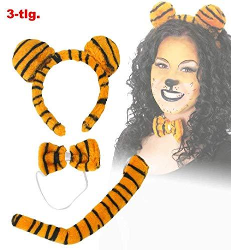 KarnevalsTeufel Tigerset Plüsch 3 Teile Schwanz, Schleife, Haarreif mit Ohren Kostüm Accessoire