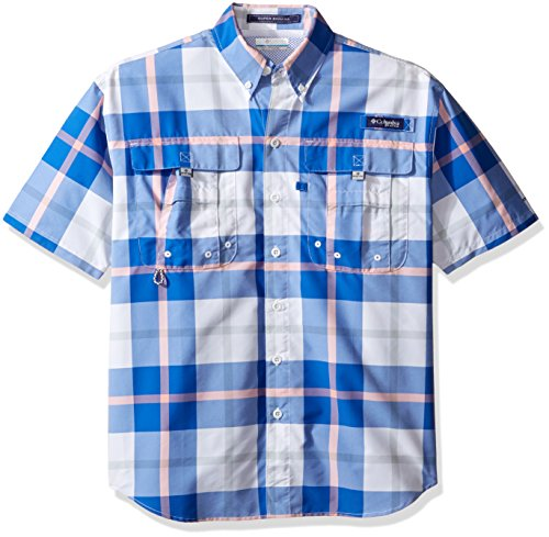 Columbia Sportswear für Männer Super Bahama Kurzarm Shirt, Vivid Blue Multi Plaid, Klein (Plaid-herren Schuhe)