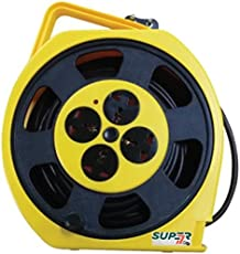 Gadget-Wagon Plastic 4 Way Round Universal Extension Socket with Cord (Yellow, 15m)