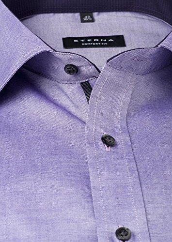 ETERNA Herren Langarm Hemd Comfort Fit Classic-Kent lila strukturiert mit Patch 8102.93.E36R Flieder