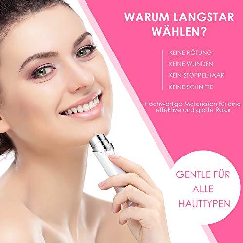 Depiladora Facial para Mujer Eléctrica Mini LANGSTAR,  Depiladora Vello Facial recargable y Portátil para Labio/Barbilla/Mejilla/Faciala (Blanco)