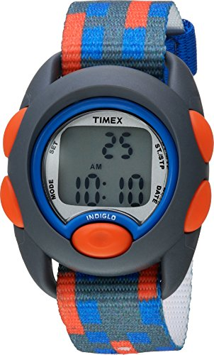 Timex Boys TW7C12900 Time Machines Digital Gray/Blue/Red Fabric Strap Watch (Uhren Timex Jungen Kinder)