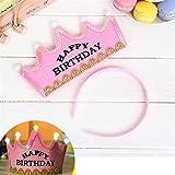 Große Spaßzeit Prince Crown Kuchen LED Glow Hoop Kleid Hut Birthday Party Supplies (Rosa, Alles Gute zum Geburtstag)