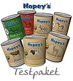 Hopey's Testpaket für Hunde, Premium Nassfutter 7x 850g Dosen