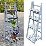 4 Tier flower stand outdoor Wooden Garden Home Flower Balcony Shelf Ladder Display Free Standing Folding Flower Shelf Dish Rack-grey ¡
