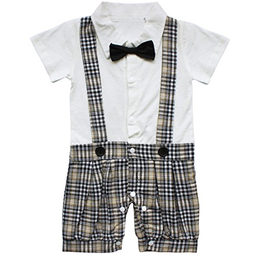 FEESHOW Baby Toddler Boys Plaid Bow Tie Gentleman Romper Jumpsuit Outfit Costume White 12-18 Months