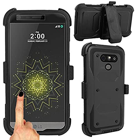 Magic Global Gadgets® For LG G5 (BLACK) Strong Military Survival Builders Workman Shockproof Hard Defender Case Cover With Built In Tough Screen Guard + 360° Detachable Belt Holster Clip/ Kickstand