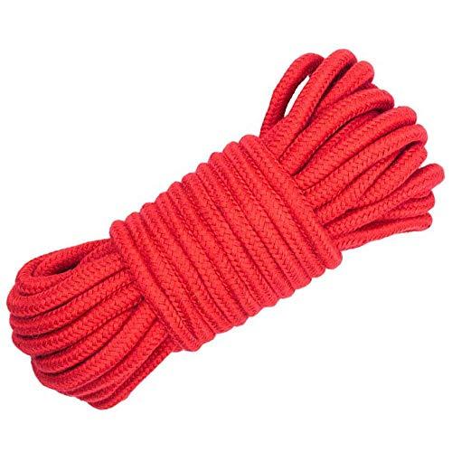 DollaTek All-Purpose-Kollektion Soft Twisted Cotton Seilschnur, 32 FT (10 m) Länge, 1/3-Zoll-Durchmesser (32 ft) - Rot