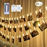 Four Heart LED Foto Clip Lichterkette + Fernbedienung & Timer , 5 M 40 Foto-Clips, 8 Mode batterie Photoclips, Warmweiß, ideal für hängende Bilder, Notizen, Artwork, Memos und mehr