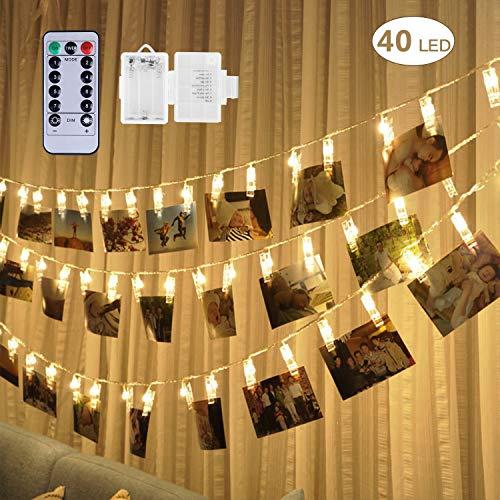 fourHeart LED Photo Clip String Lights 5M/40LED Batteria Powered Per decorazione da appendere foto quadri carta e messaggi (Bianco Caldo + Telecomando)