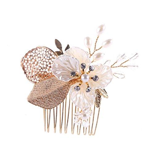 Lia Fashion Vintage Haarschmuck, Kamm, Hochzeit, Kristall elegant Braut Retrostil Haarkamm Diadem Haarschmuck klar, Perlen, gold