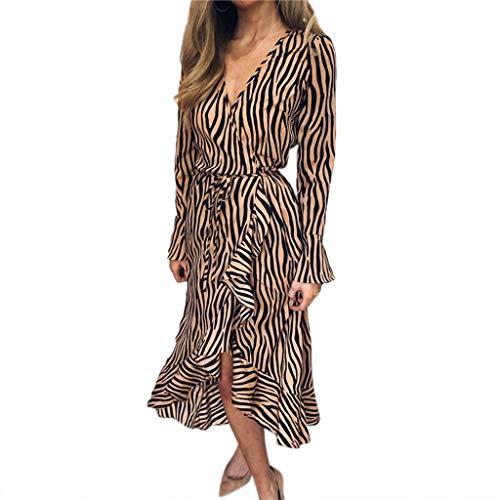Sommerkleid Spitze Kleid, LeeMon Womens Tiger Pattern Print V-Ausschnitt Bandage Langarm Strand lässig Midi-Kleid -